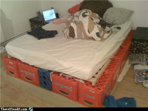 bed,cheap,ikea,Kludge,milk crate,recycling-is-good-right,storage