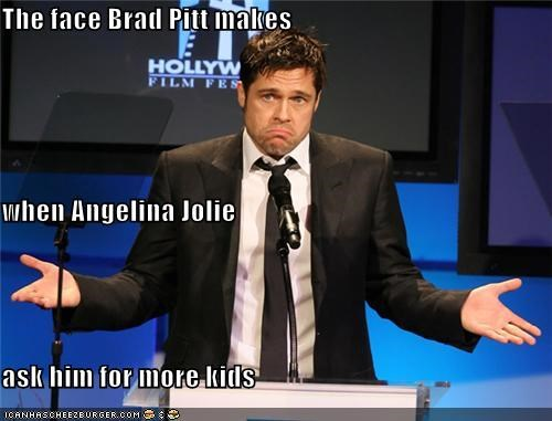 The face Brad Pitt makes when Angelina Jolie ask him for more kids