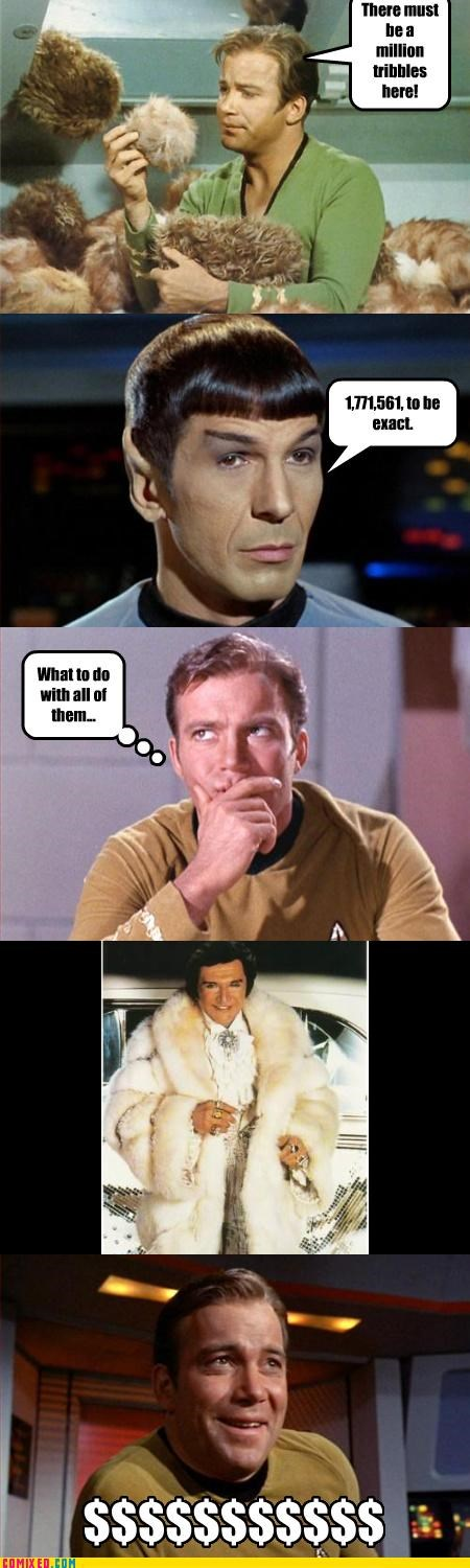 fur coats,kirk,shatner,Spock,Star Trek,tribbles,trouble,wealth