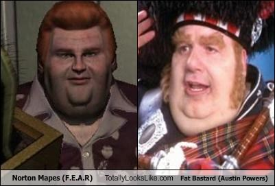 Norton Mapes (F.E.A.R) Totally Looks Like Fat Bastard (Austin Powers)