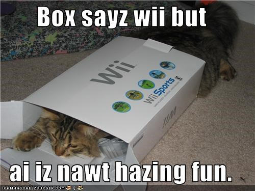 Box sayz wii but  ai iz nawt hazing fun.
