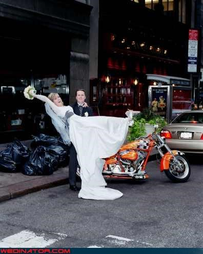 bride,dirty wedding dress,eww,fashion is my passion,funny wedding picture,funny wedding portrait,groom,motorcycle,silly wedding picture,surprise,were-in-love,wedding is garbage,white trash wedding