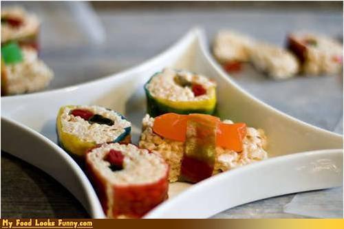 candy,fake,fruit roll ups,rice krispy treats,sushi,swedish fish,sweet,Sweet Treats