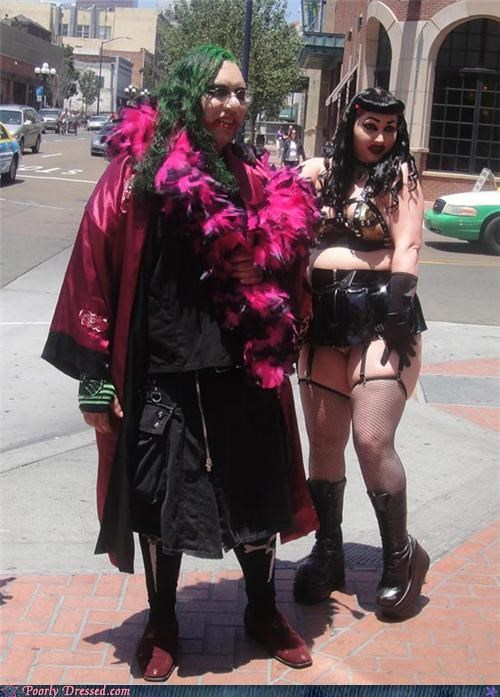 fetishwear,goth,green hair,leather,stockings