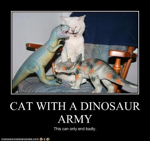 CAT WITH A DINOSAUR ARMY