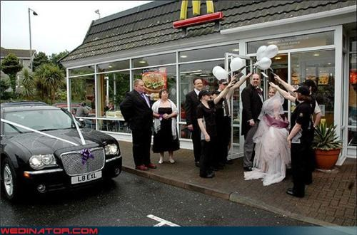 Crazy Brides,crazy groom,eww,french fries,funny wedding picture,McDonald's,mcmarriage,retail wedding trend,romantic fast food wedding,surprise,were-in-love,wedding-at-mcdonalds,Wedding Themes
