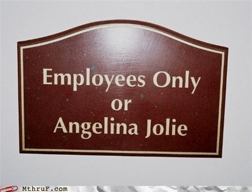Angelina Jolie,awesome,basic instructions,clever,creativity in the workplace,employees only,official sign,sign,signage,wiseass,wishful thinking