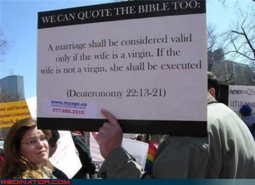 Bible Beaters,bride,bride-icide,crazy proselytizers,funny wedding picture,groom,protestors,psa,technical difficulties,wtf