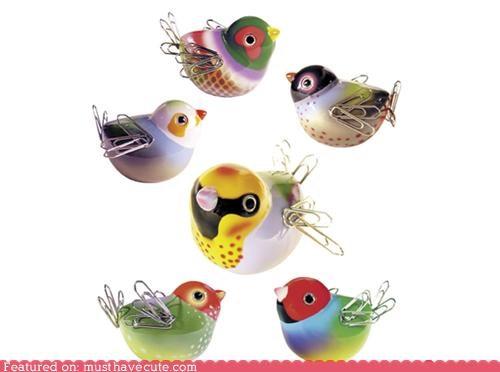 bird magnet,kawaii office supplies,Office,paper clips,stationary