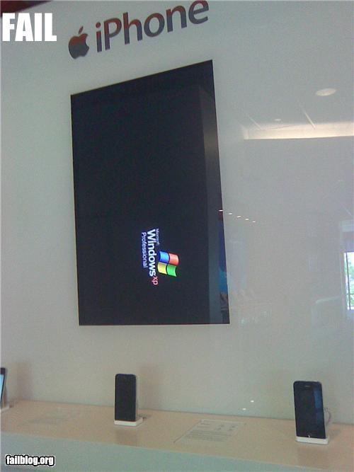 apple store,displays,failboat,iphone,ironic,windows