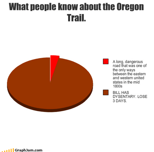 childhood,computer game,dysenery,oregon trail,Pie Chart