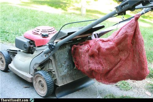 bag,cheap fix,cutting grass,lawnmower