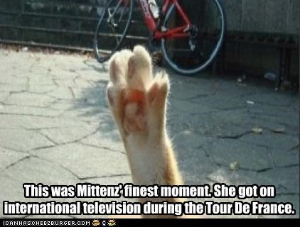 This was Mittenz' finest moment. She got on international television during the Tour De France.