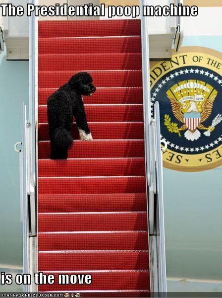 The Presidential poop machine  is on the move