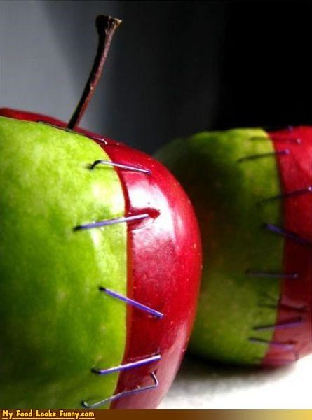 apples,frankenstein,fruit,fruit monster,fruits-veggies,half,monster,staples