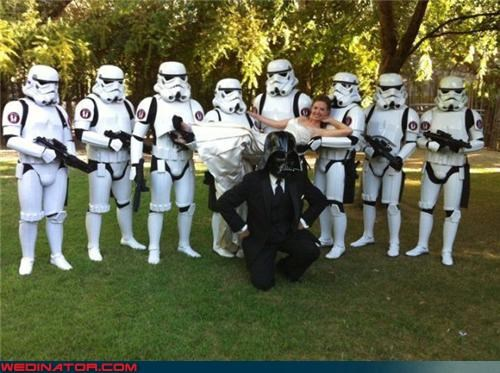 Crazy Brides,crazy groom,darth vader groom,fashion is my passion,Funny Wedding Photo,funny wedding picture,Groomsmen,star wars,star wars themed wedding,storm troopers groomsmen,surprise,were-in-love,wedding party,Wedding Themes