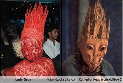 Lady Gaga Totally Looks Like Cathedral Head from Hellboy 2