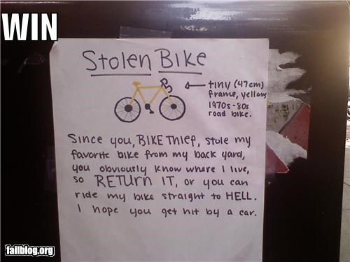 bike,failboat,g rated,note,posters,thief,threats,win