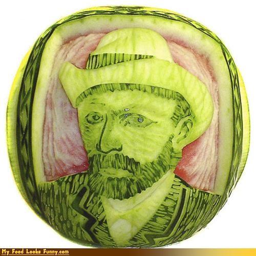 art,carving,fruits-veggies,melon,melon art,portrait,Van Gogh,Vincent van Gogh,watermelon