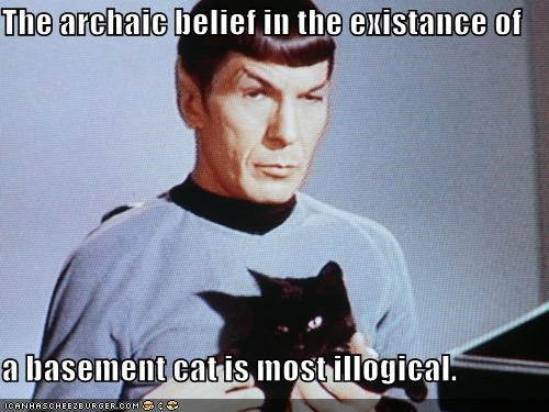 The archaic belief in the existance of  a basement cat is most illogical.
