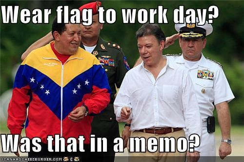 Wear flag to work day?  Was that in a memo?