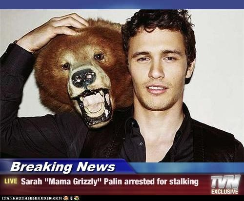 "Breaking News - Sarah ""Mama Grizzly"" Palin arrested for stalking"