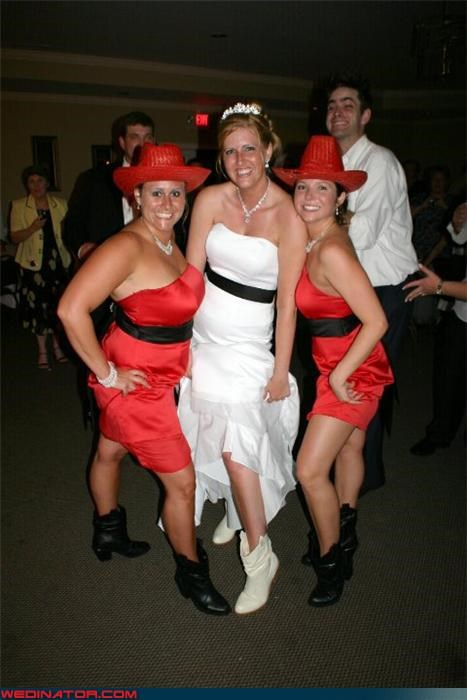 bride,bride booties,bridesmaids in cowgirl hats,cowgirl bride,cowgirl bridesmaids,Crazy Brides,fashion is my passion,funny bridesmaids picture,funny wedding photos,giddy up,perma-smile,surprise,wedding party,Wedding Themes