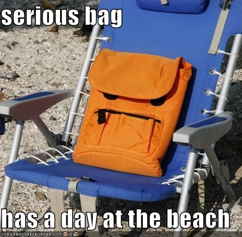 serious bag  has a day at the beach