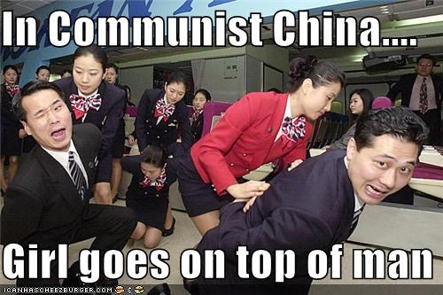 In Communist China....  Girl goes on top of man