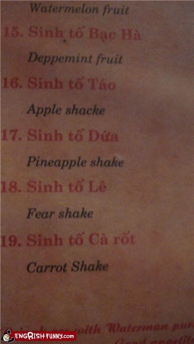 fears,fruits,menu,shake