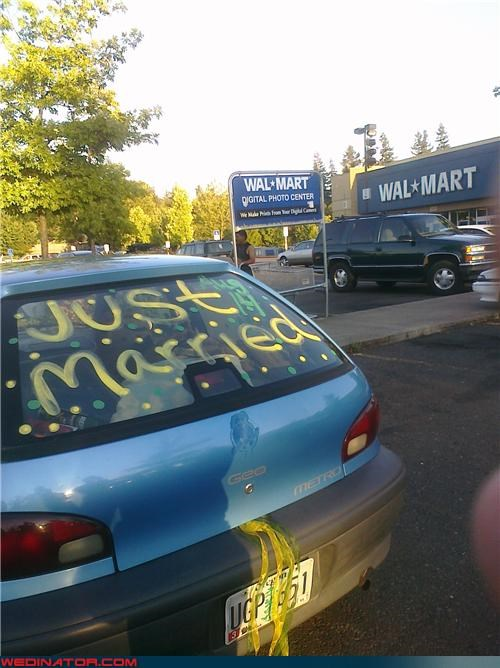 bride,decorated wedding getaway car,Funny Wedding Photo,groom,Just Married,saddest honeymoon ever,Walmart,walmart wedding pitstop,wedding getaway car,white trash wedding