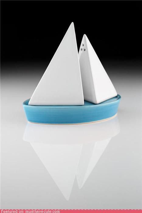 boat,ceramic,geometrical,Kitchen Gadget,modern,pottery,sp,sailboat,sails,salt and pepper shakers,simple