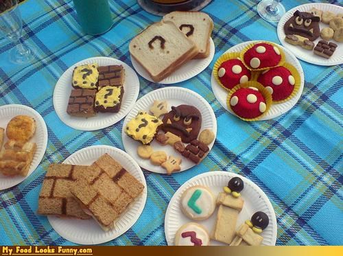 brownies,cookies,goombas,mario bros,Mushrooms,NES,nintendo,picnic,super mario,Super Mario bros,Sweet Treats,toast