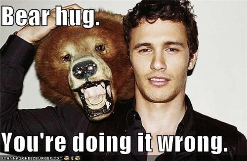 Bear hug.  You're doing it wrong.