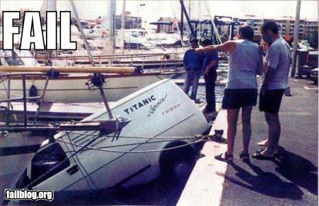 failboat,irony,off roading,sinking,titanic,van,water