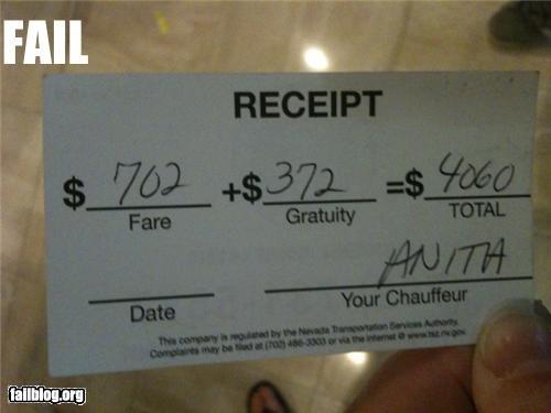 failboat,limo drivers,math,math is too hard,receipt