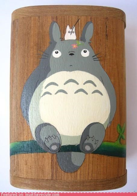 accessory,box,character,hand painted,Painted,totoro,wood
