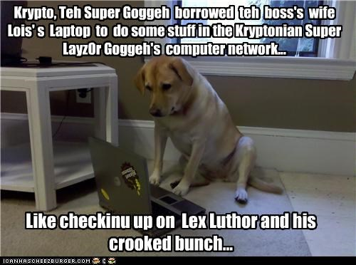 Krypto, Teh Super Goggeh  borrowed  teh  boss's  wife Lois' s  Laptop  to  do some stuff in the Kryptonian Super Layz0r Goggeh's  computer network...  Like checkinu up on  Lex Luthor and his  crooked bunch...