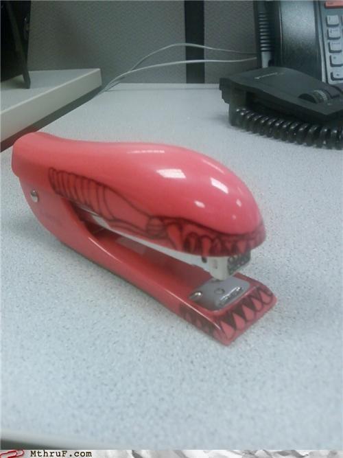 alien,desk,doodle,imaginary friend,office supply,pink,ripley,so lonely,stapler,swingline