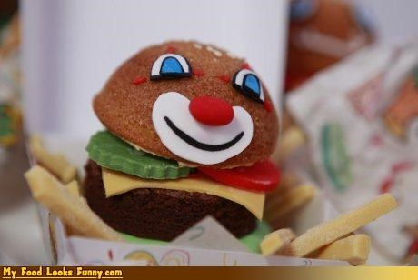 burgers and sandwiches,cake,cheeseburger,clown,condiments,dessert,snacks,Sweet Treats,sweets
