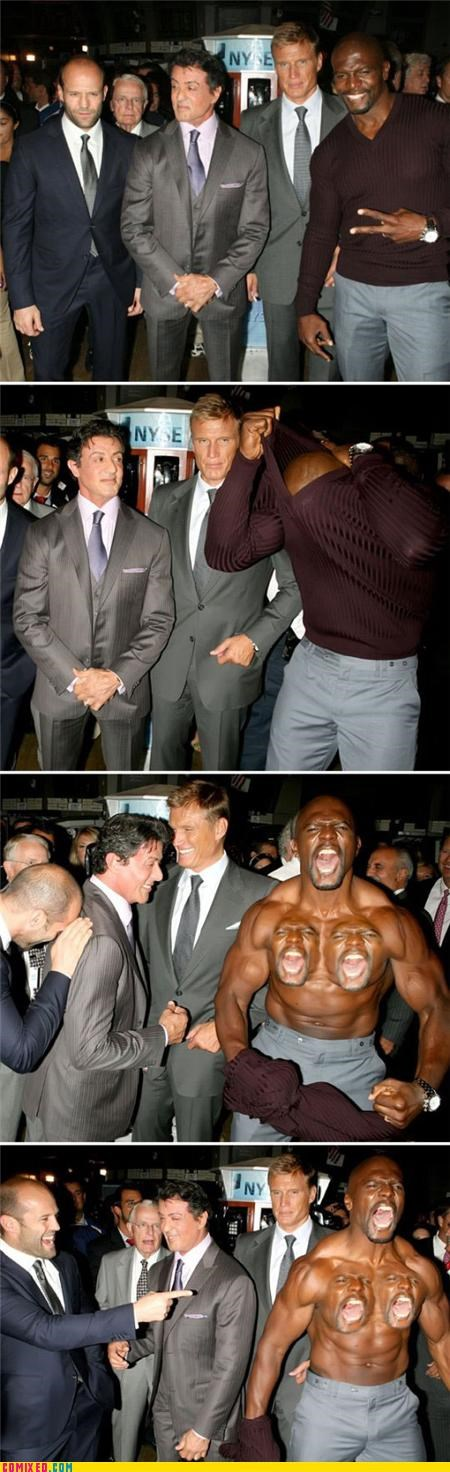 celebutards,dolph lundgren,From the Movies,jason statham,man boobs,muscles,Sylvester Stallone,terry crews,The Expendables