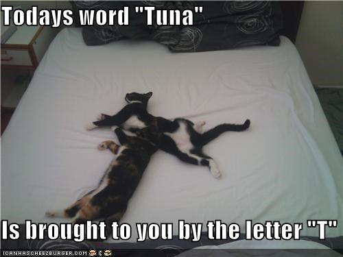 "Todays word ""Tuna""  Is brought to you by the letter ""T"""