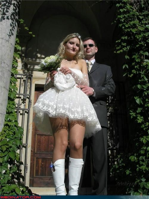 Crazy Brides,fashion is my passion,Funny Wedding Photo,groom,Russian bride,short skirt,tacky wedding dress,tiara,upskirt,were-in-love,what the what,white boots,wtf