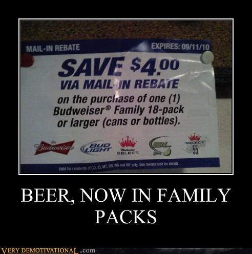 BEER, NOW IN FAMILY PACKS