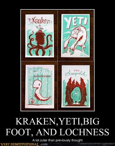 bigfoot,kraken,yeti,art,lochness monster