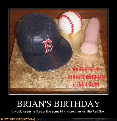 baseball,birthdays,boston,cake,phallic,pink socks,red sox,Sad