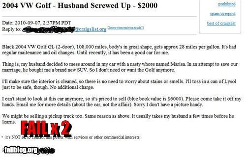 ads,busted,cars,cheap,failboat,husband,marriage,selling