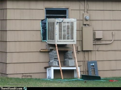 air conditioner,hope it holds,Kludge,real life Jenga