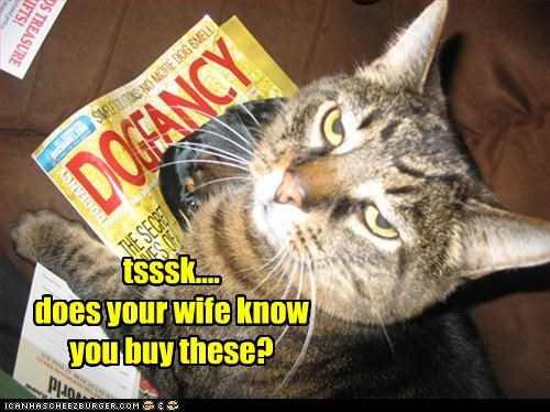 caption,captioned,cat,disappointment,dog fancy,keeping secrets,wife