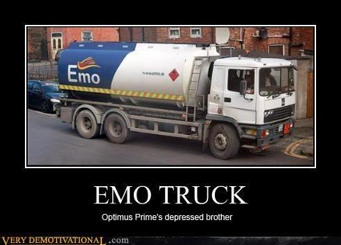 anthropomorphizing,depression,emo,hilarious,nerds,transformers,trucks